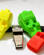 Multipack of various sports whistles